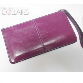 Cartera-clutch piel lila