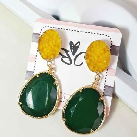 Pendientes Ninfa Stone Amarillo y Verde