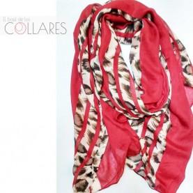 Pañuelo rojo con tiras leopardo