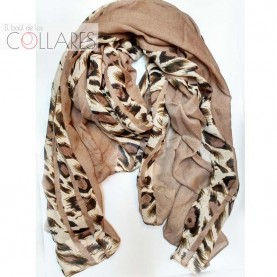 Pañuelo beig con tiras leopardo