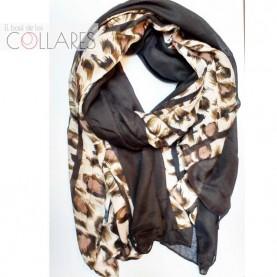 Pañuelo negro con tiras leopardo