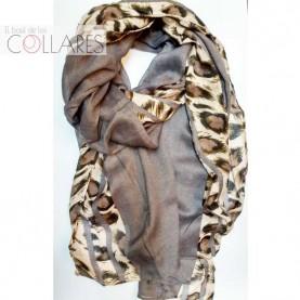 Pañuelo gris con tiras leopardo