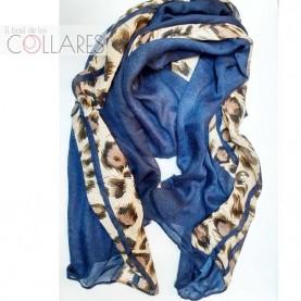 Pañuelo marino con tiras leopardo