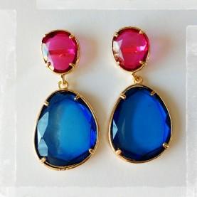 Pendientes Ninfa Magenta y Azul Opac
