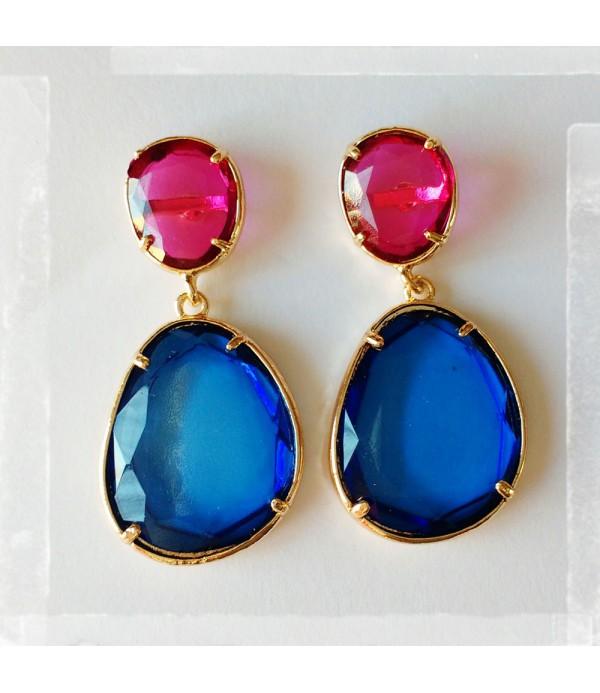 Pendientes rosa y azul