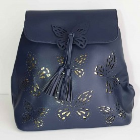 Women bag nevy blue butterflies