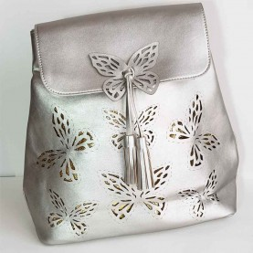 Women bag nevy blue butterflies