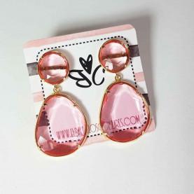 Pendientes de bisutería rosa