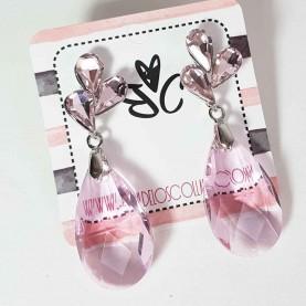 Pendientes de cristal rosa