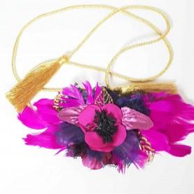 Cinturón Flores y Plumas Fucsia