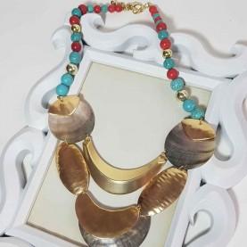 Collar de mujer Corto Egipto azul, rojo y dorado