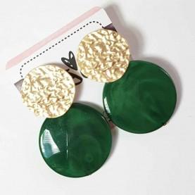 Pendientes verdes y Dorados Musa Circulo