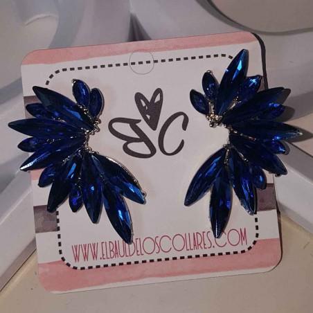 Pendientes Azules Semilargos Cristal Mar