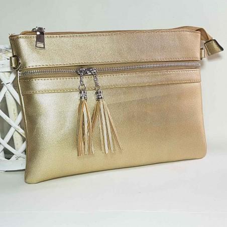 Bolso de mano dorado Flavia