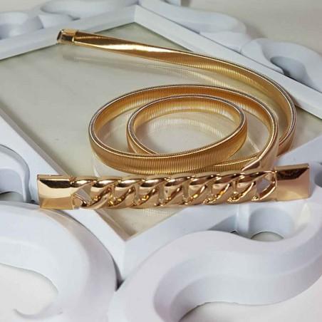 Cinturón elastico dorado Trenza