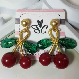 Long earrings Cherries