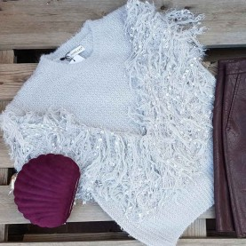 Jersey lana mangas Peluche Gris