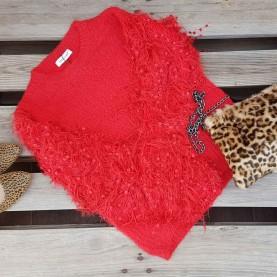Jersey lana mangas Peluche Rojo