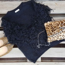 Jersey lana mangas Peluche Negro