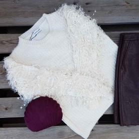 Jersey lana mangas Peluche Beige