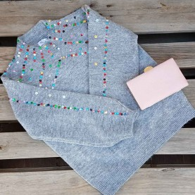 Wool sweater with multicolor sequins