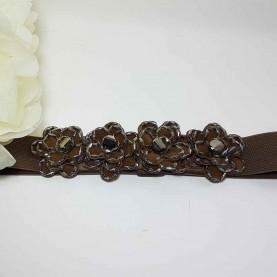 Cinturón flores marrón