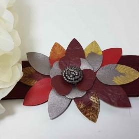 Cinturón Flor cuero Granate