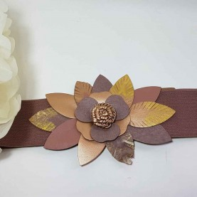 Cinturón Flor cuero beige