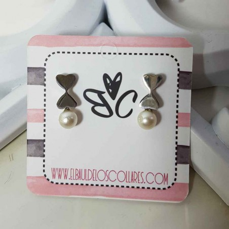 Steel earrings with pearl style Anna