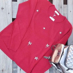 Jersey Apliques Cristal rojo