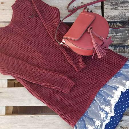 Vestido de lana granate