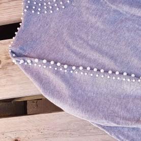 Jersey gris Punto con perlas