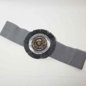 Cinturón elástico detalle circular gris