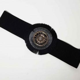 Cinturón elástico detalle circular negro
