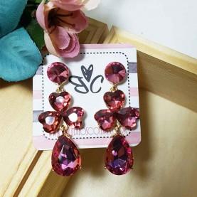Pendientes rosa Cristal de fiesta Liona