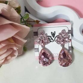 Pendientes rosa de crystal