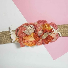 Belt with flowers pink