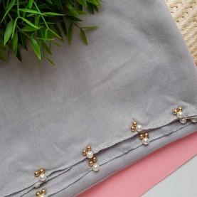Fular gris perlas