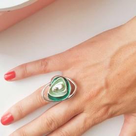 Adjustable Ring Flower Green