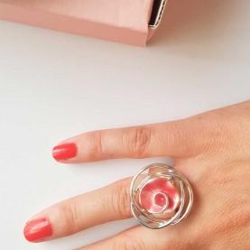 Adjustable Ring Flower Pink