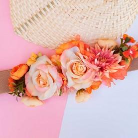 cinturón con flores naranja