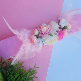 Belt Flowers & Feathers Pink