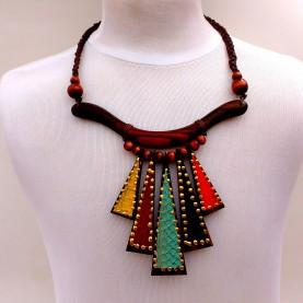 Collar Madera Triangulos Multicolor