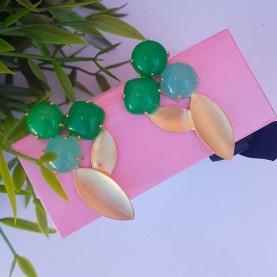 Pendientes verdes trio alta bisutería