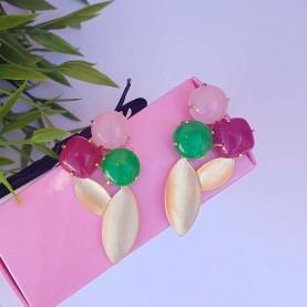 Pendientes Verdes, rosa y fucsia alta bisutería