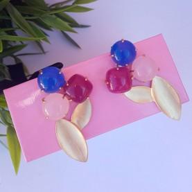 Pendientes azules, rosa y fucsia alta bisutería