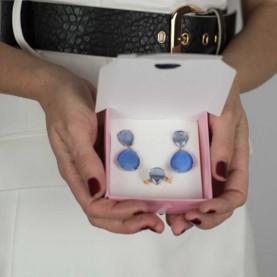 Pendientes y anillo azul invitadas
