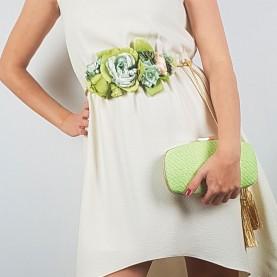Bolso y cinturón invitada verde