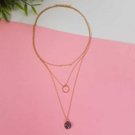 Steel triple necklace