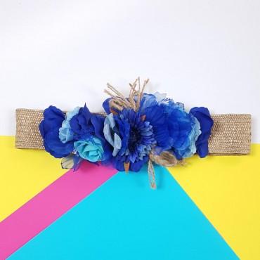 Flowers Belt Dark Blue